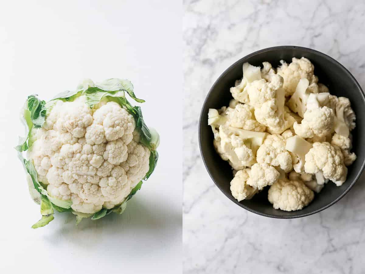 A head of cauliflower next to a bowl of cauliflower florets.