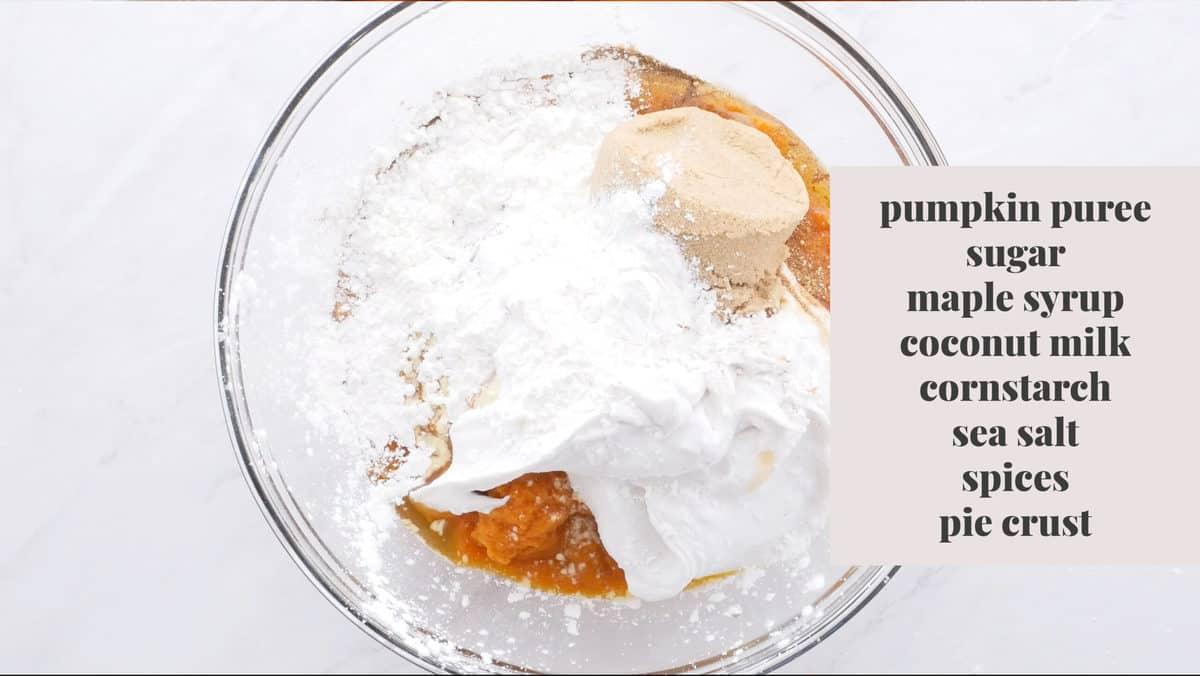 Ingredient shot for pumpkin pie.