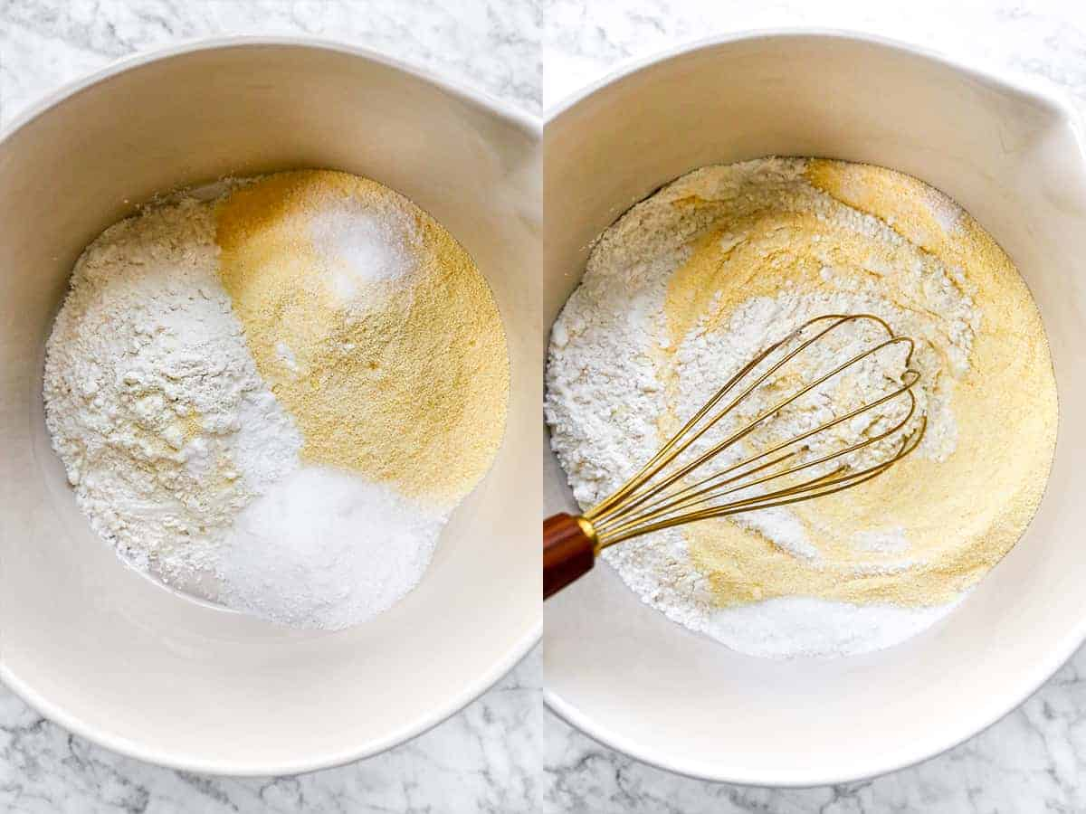Whisking dry ingredients in a bowl.