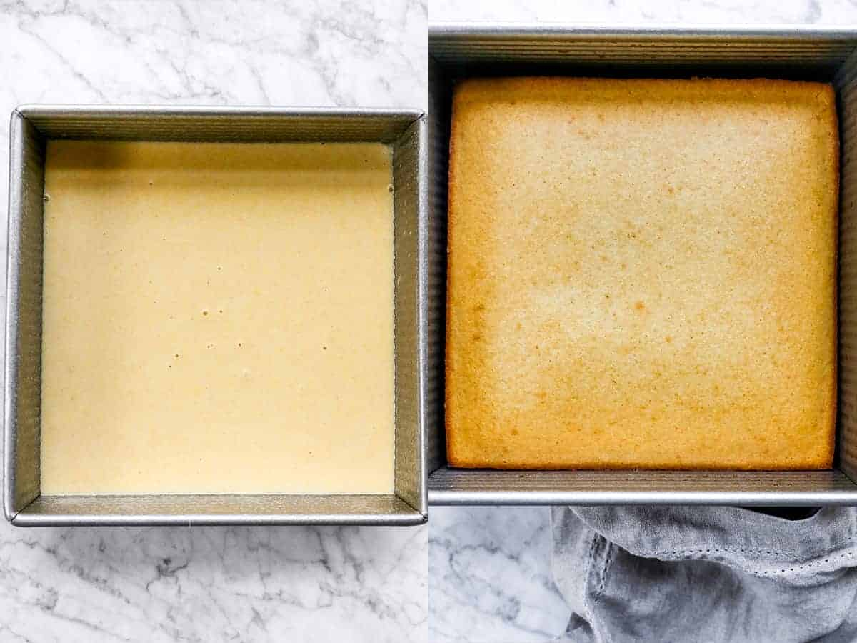 step by step of uncooked cornbread batter and cooked cornbread