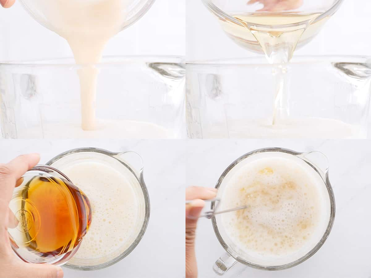 Step by step shots of mixing batter.