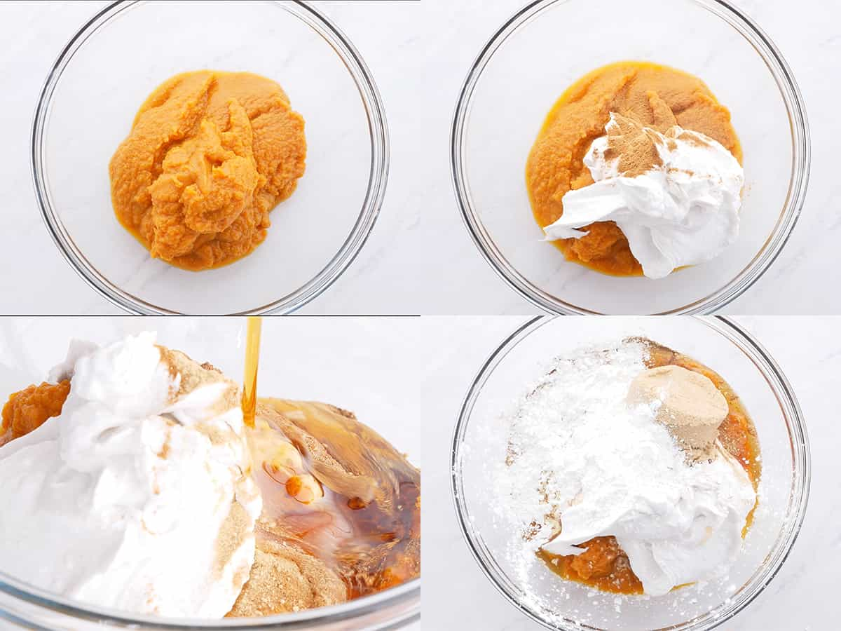 Step by step guide showing ingredients for pumpkin pie filling mixed into a glass bowl.