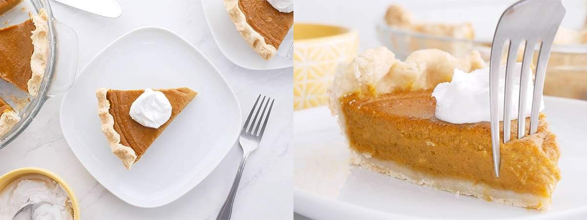 Step by step finished pumpkin pie and fork going through pie.
