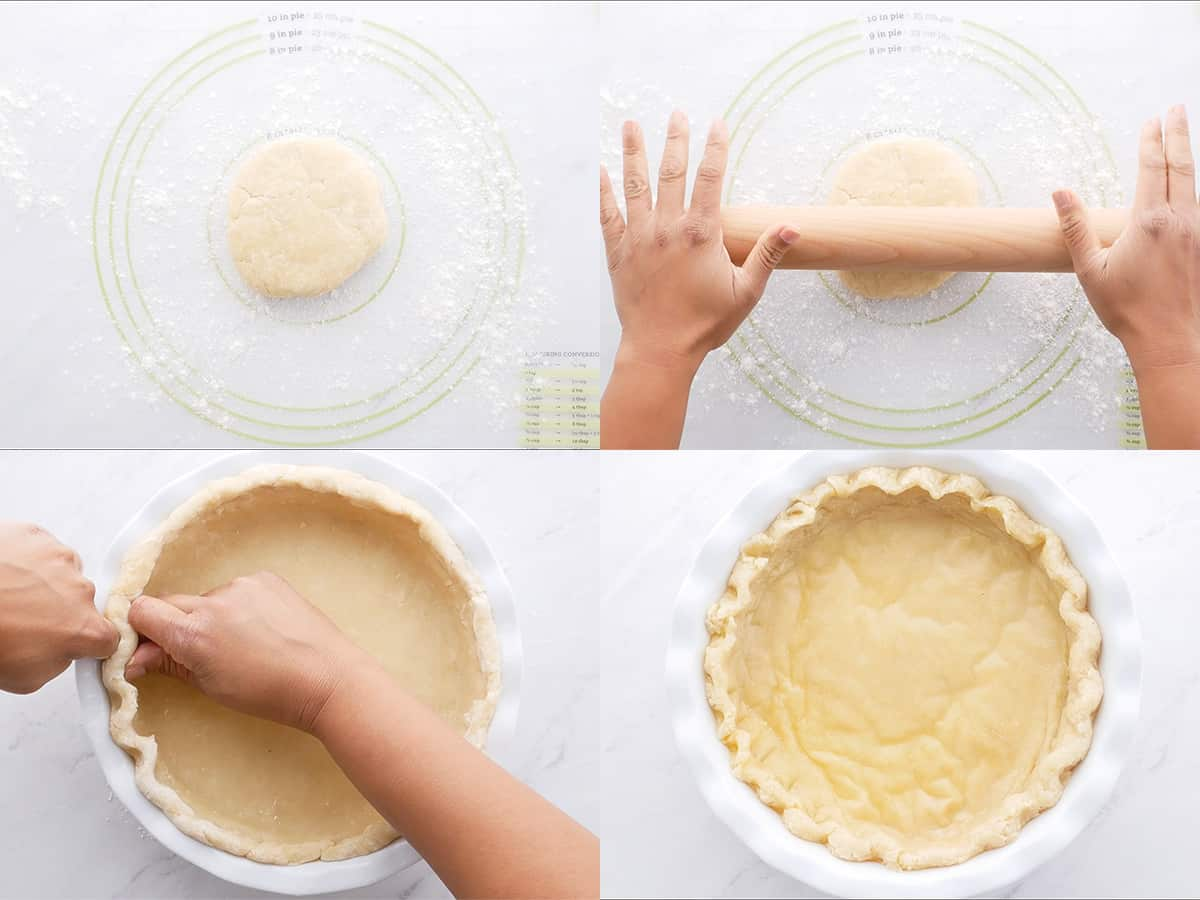 step by step of making vegan pie crust