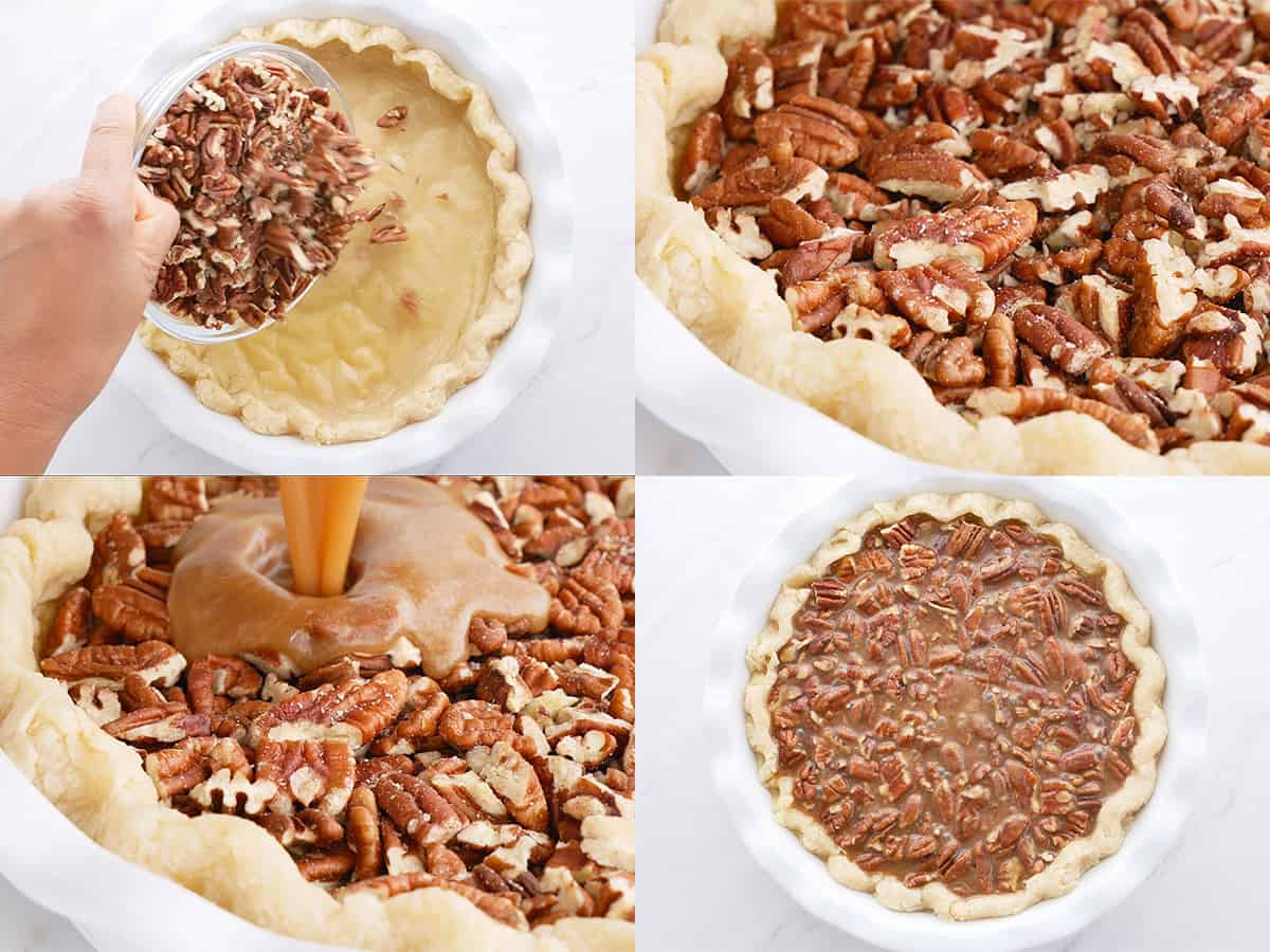 step by step showing assembling the pecan pie