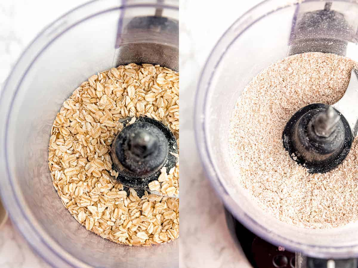 step by step showing grinding of oats