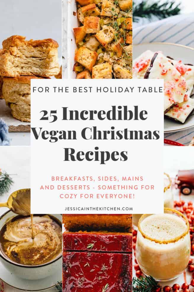 6 images representing Vegan Christmas Recipes