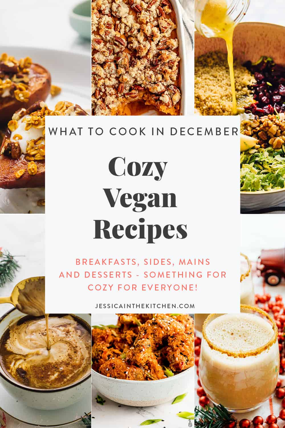 roundup graphic of cozy vegan recipes featuring 6 images and text