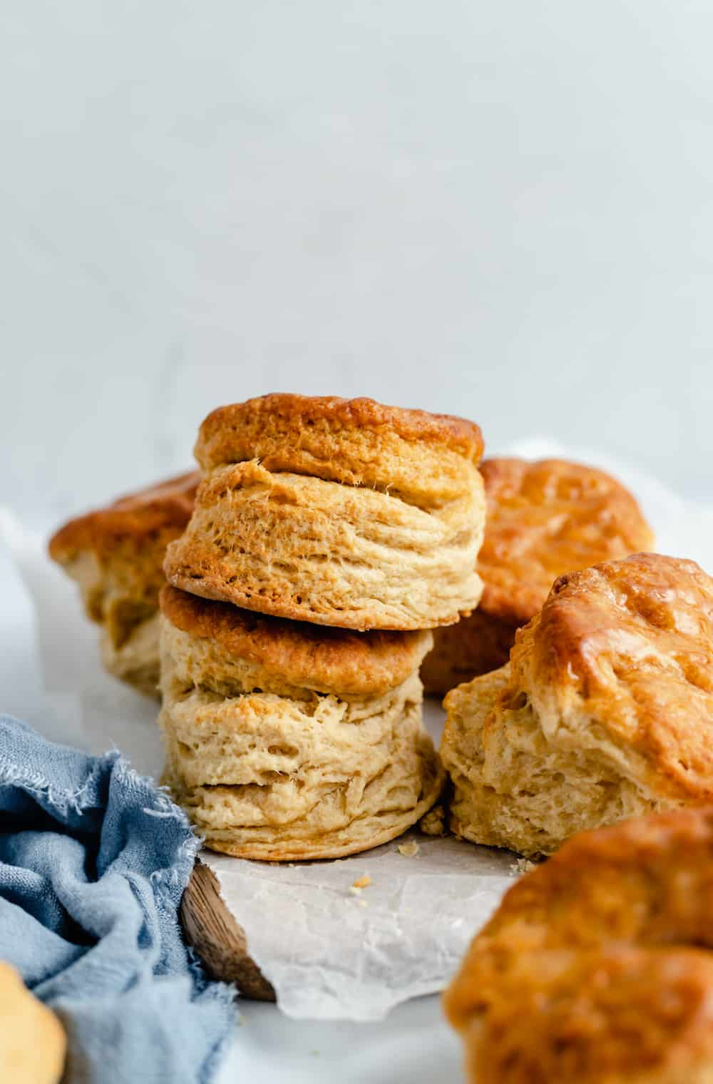 A Pile of Freshly-Baked Vegan Biscuits on a Piece of Wax Paper