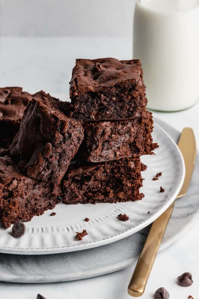 Brownie squares in a stack.