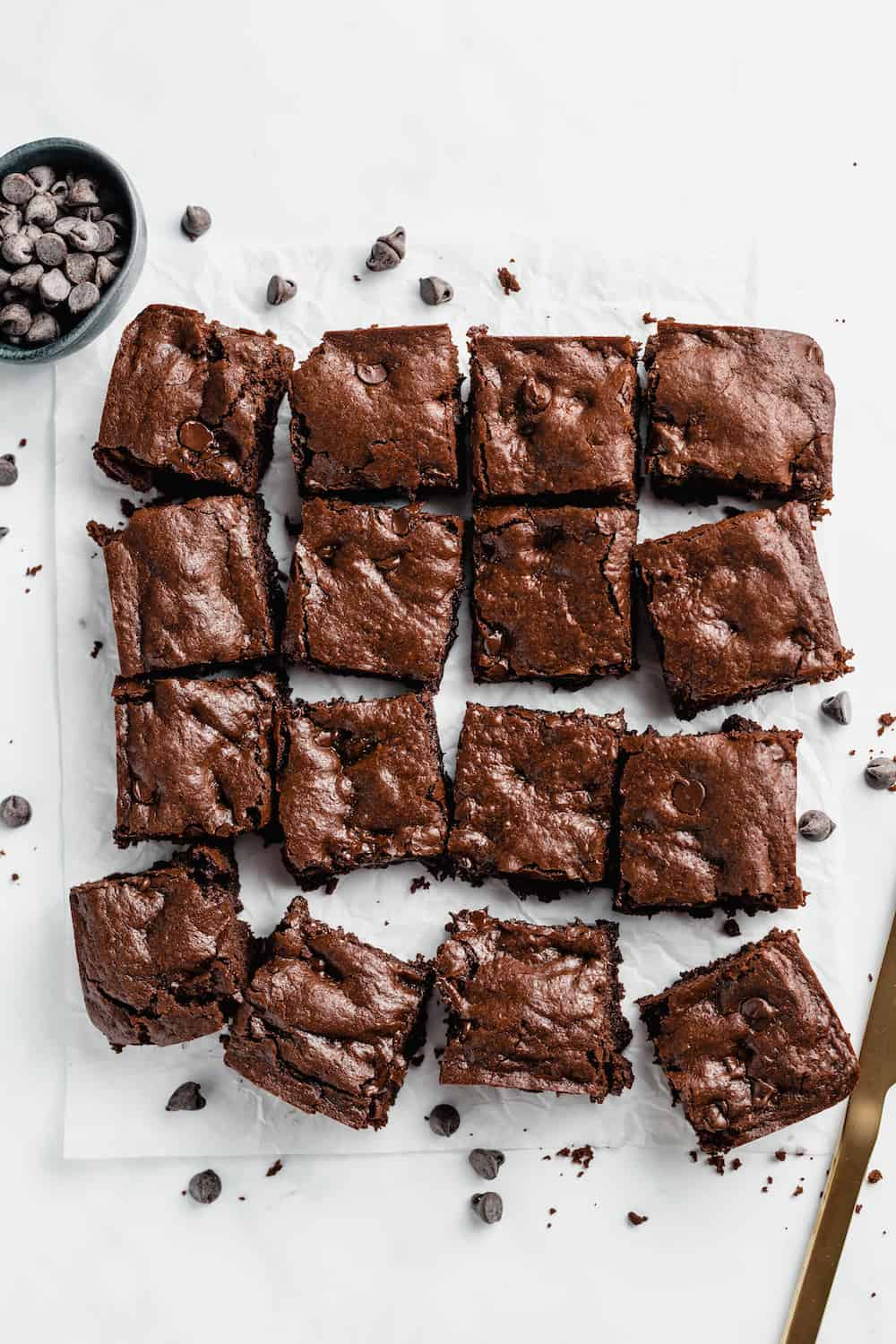 Brownies cut into squares.