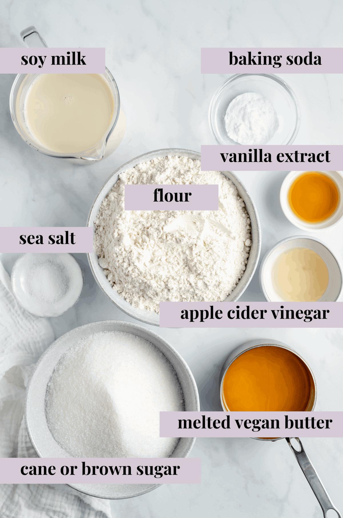 Ingredients for vegan vanilla cake.