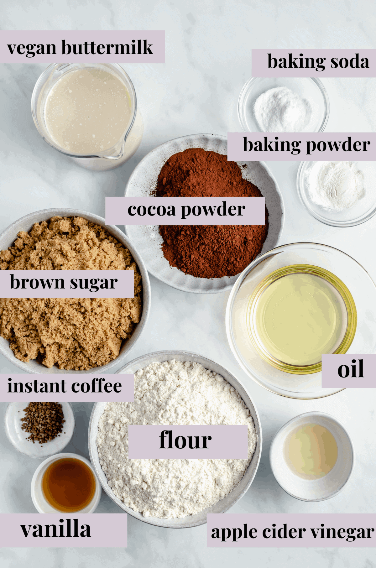 Ingredients for vegan chocolate sheet cake.