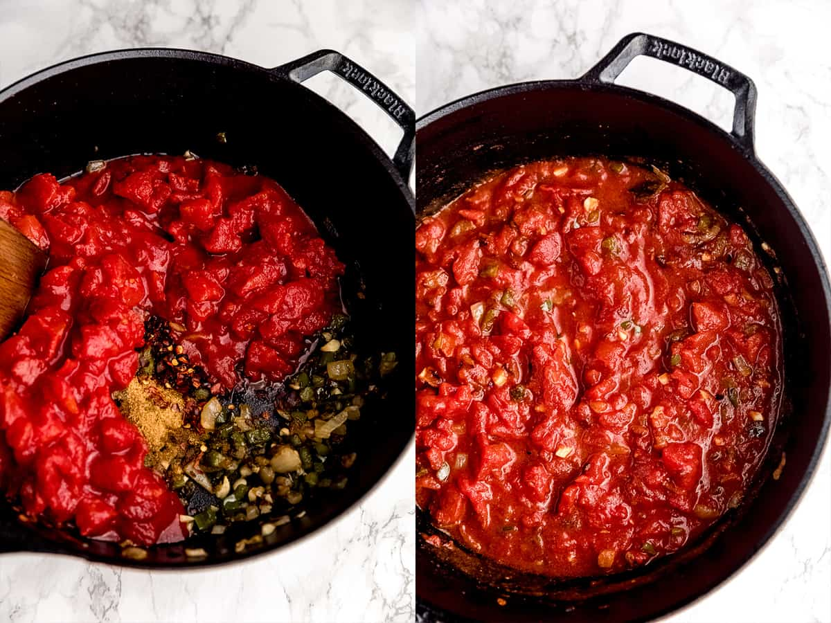 step by step making of shakshuka adding in tomatoes