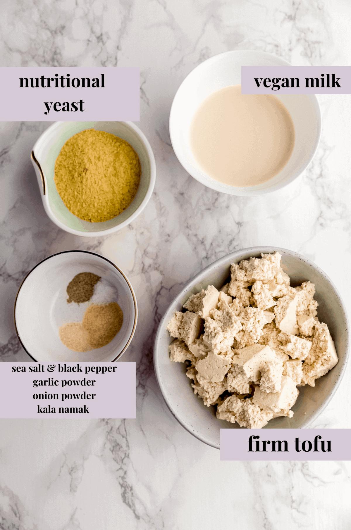 ingredients for making a vegan tofu egg