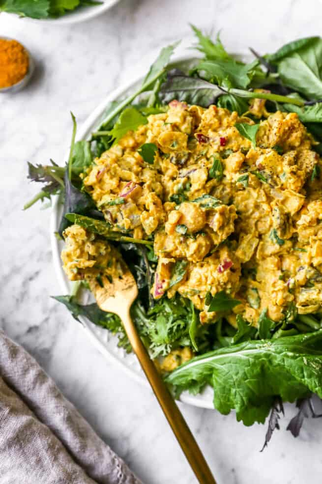 curried chickpea salad on a plate