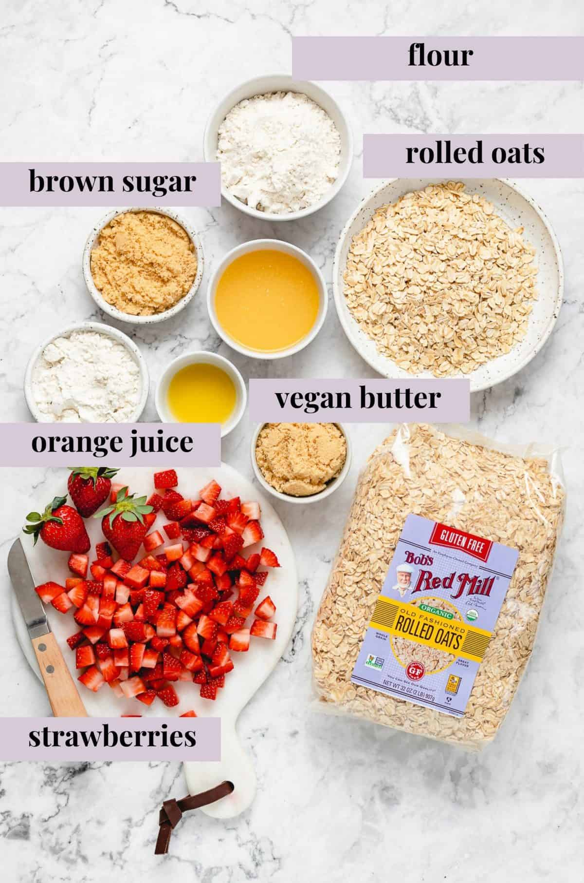 ingredients for strawberry crisp