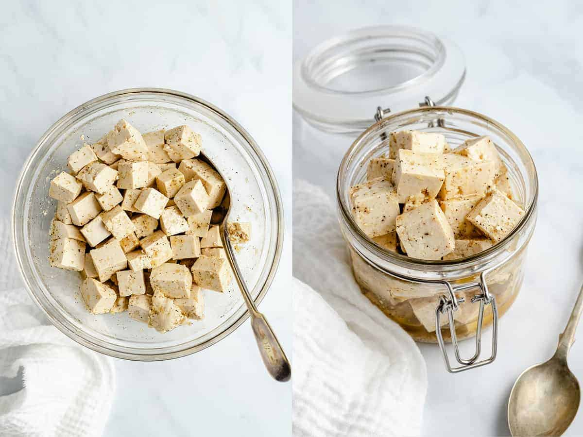 step by step photos for making tofu feta cheese