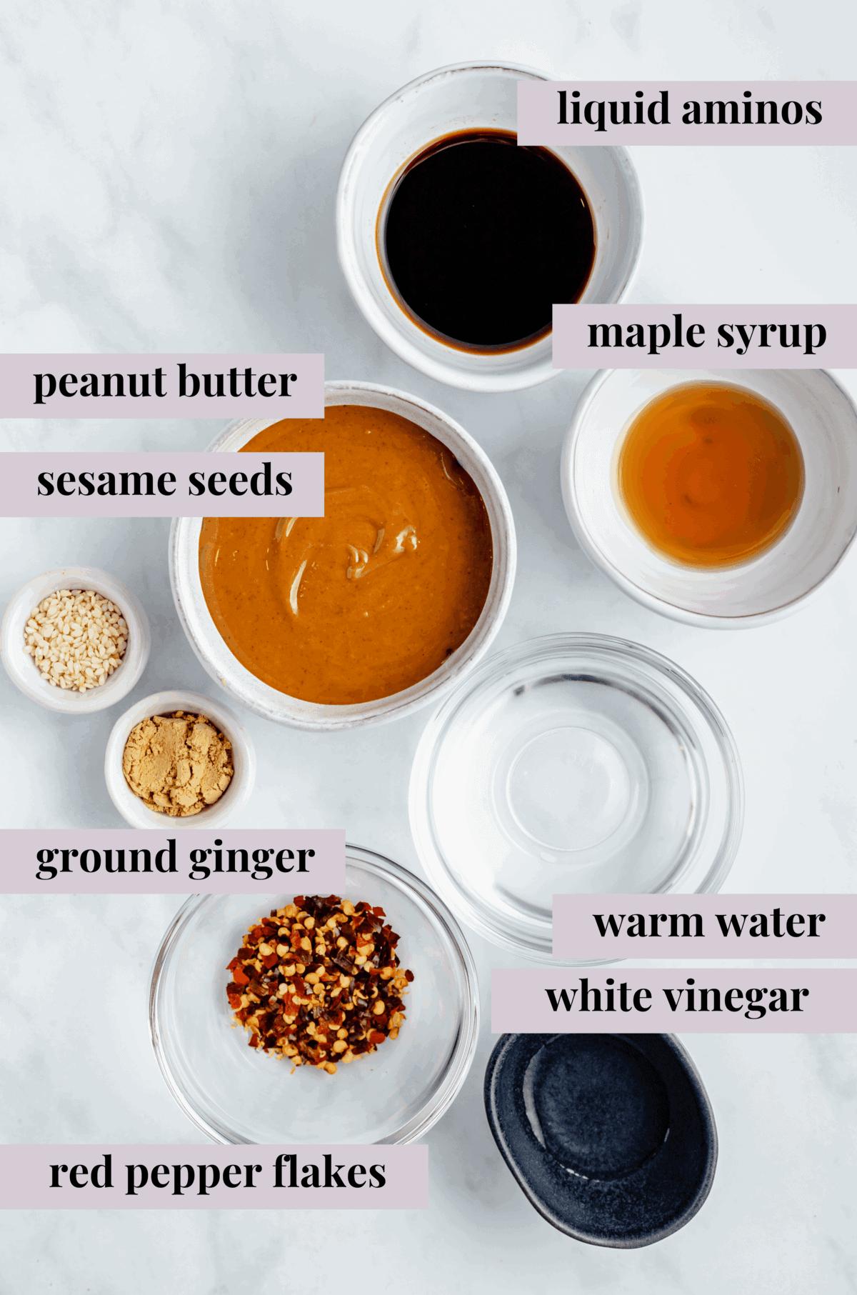 ingredients for peanut ginger dressing