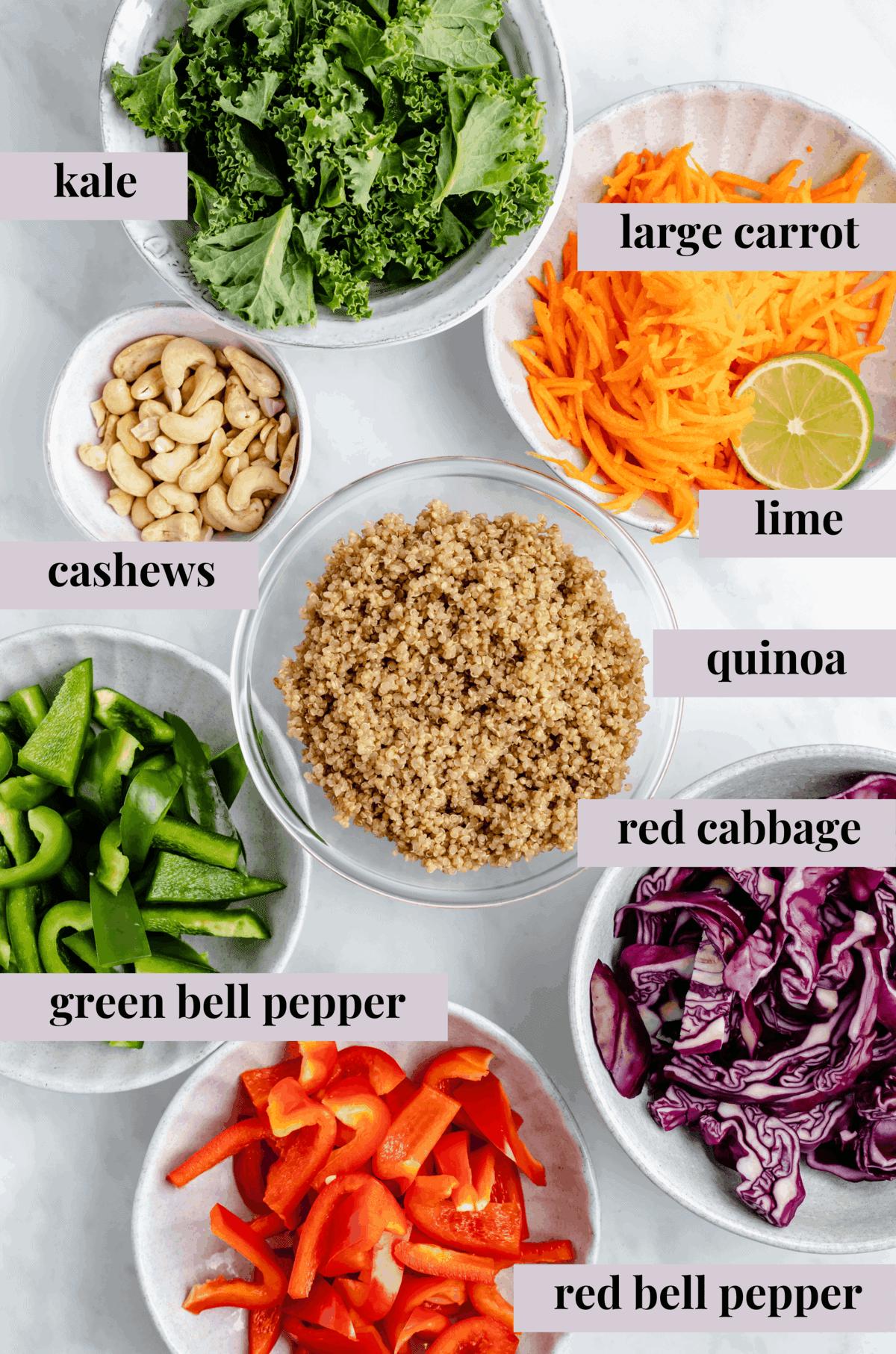 ingredients for cashew Thai quinoa salad