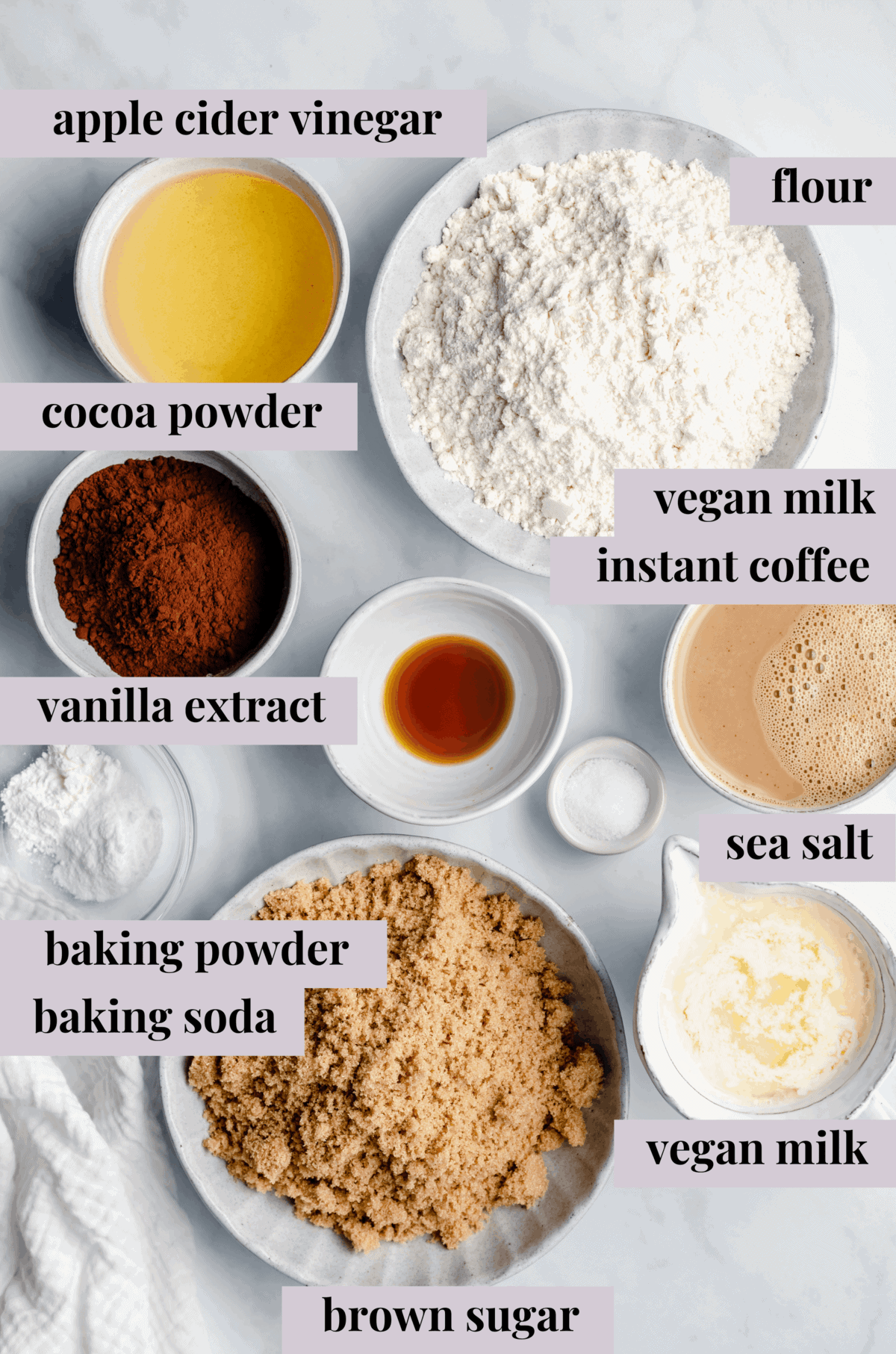 Vegan chocolate cupcakes ingredients with words