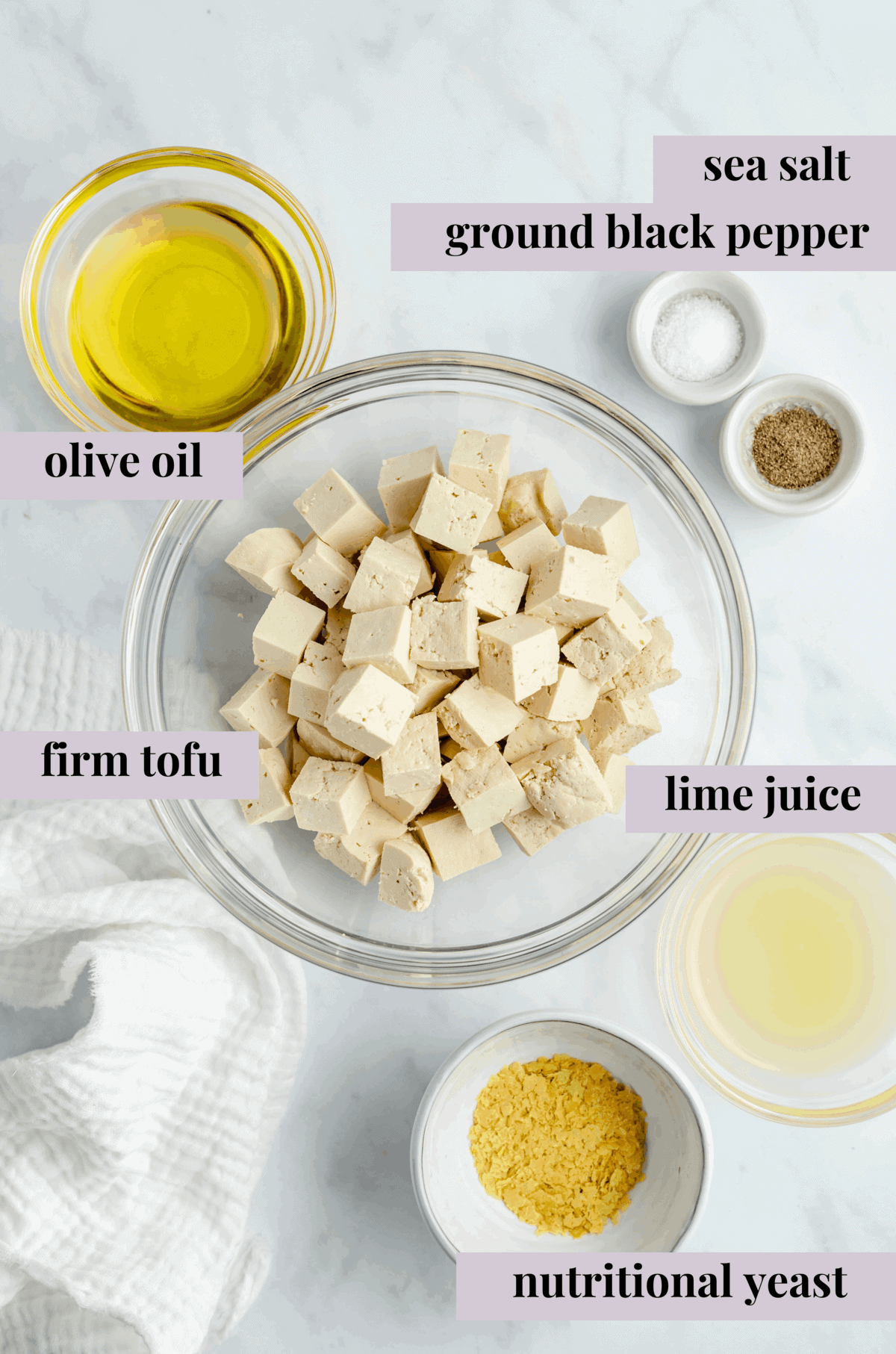 ingredients for vegan feta cheese