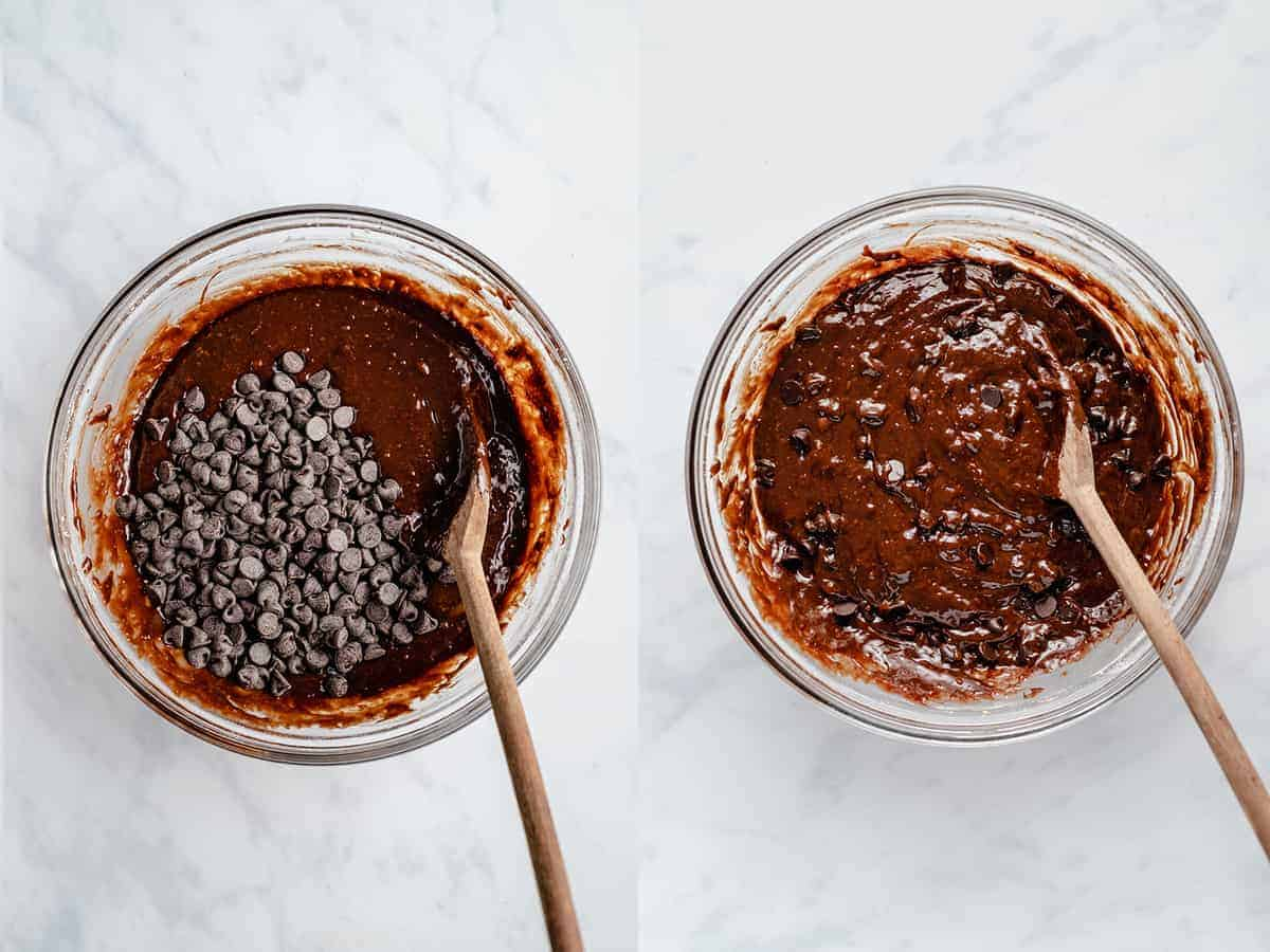 step by step photos showing mixing of brownie ingredients