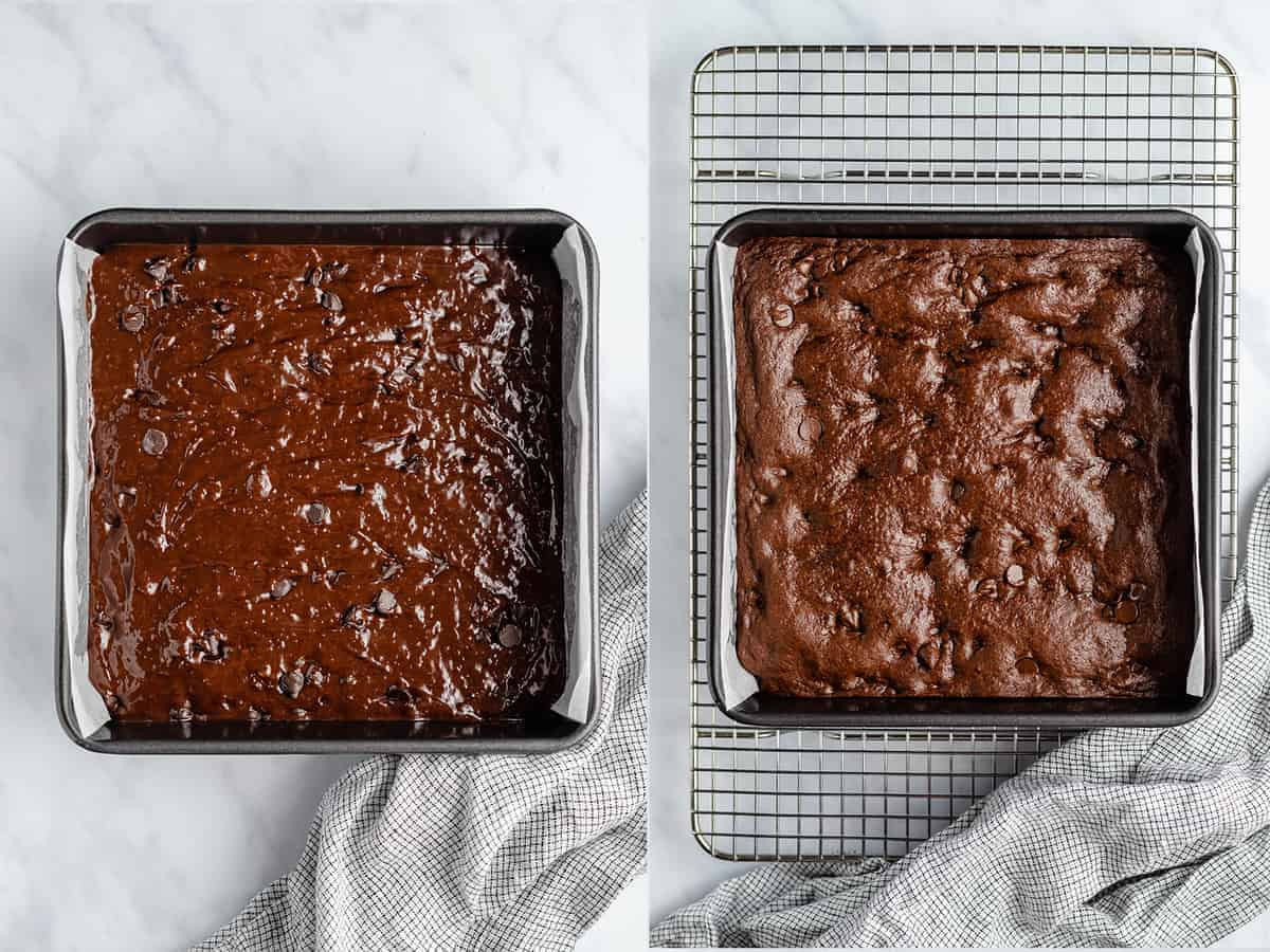 step by step photos showing unbaked brownie batter and baked brownies