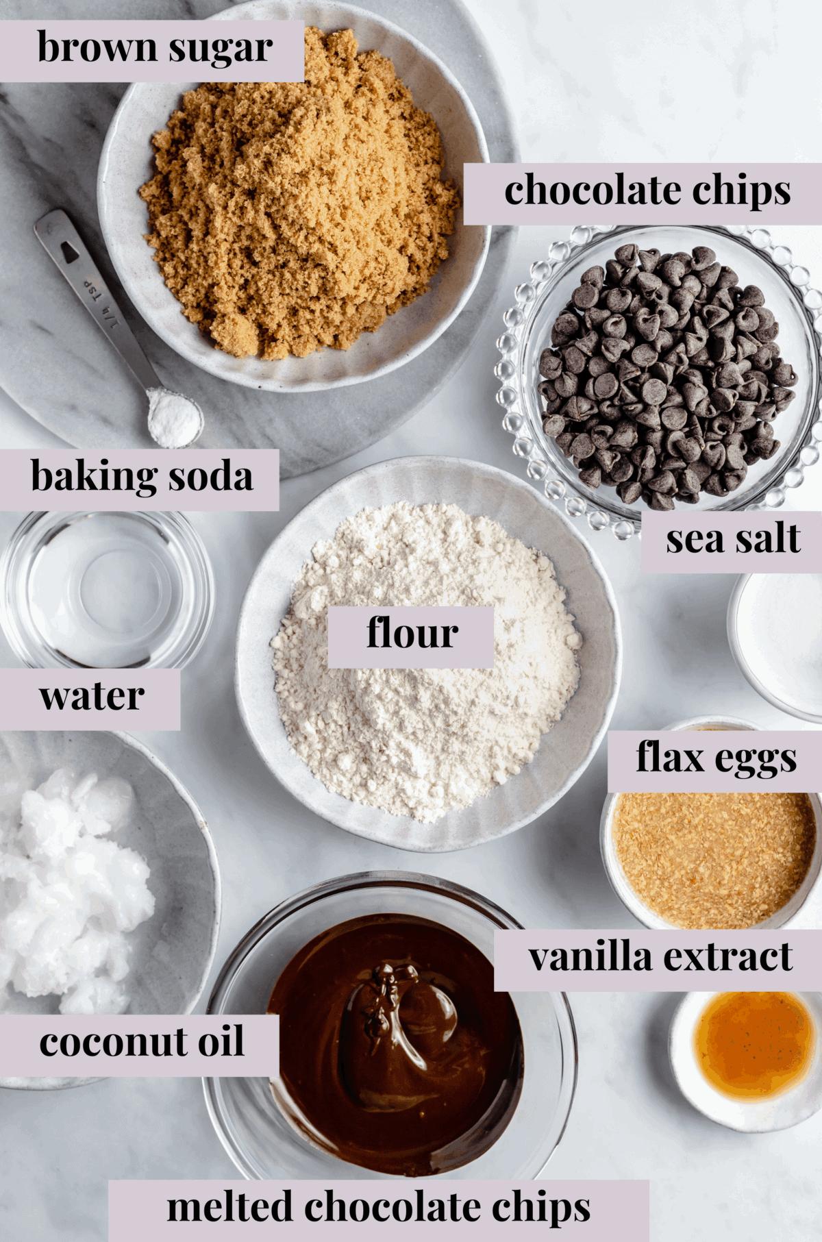 Ingredients for vegan brownies.