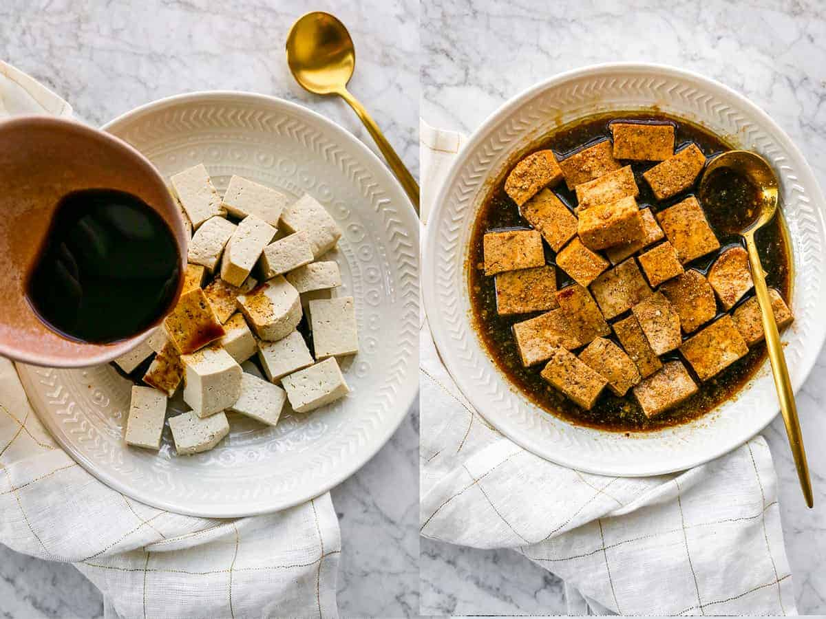step by step photos showing making marinated tofu