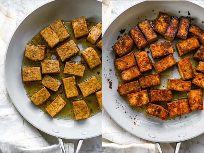 step by step photos showing cooking tofu