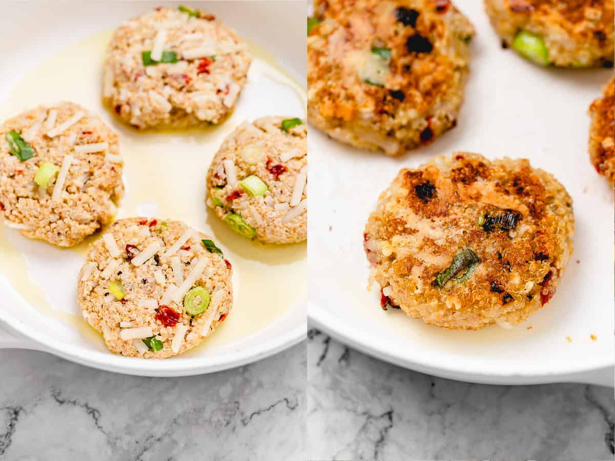 step by step making of the quinoa burgers