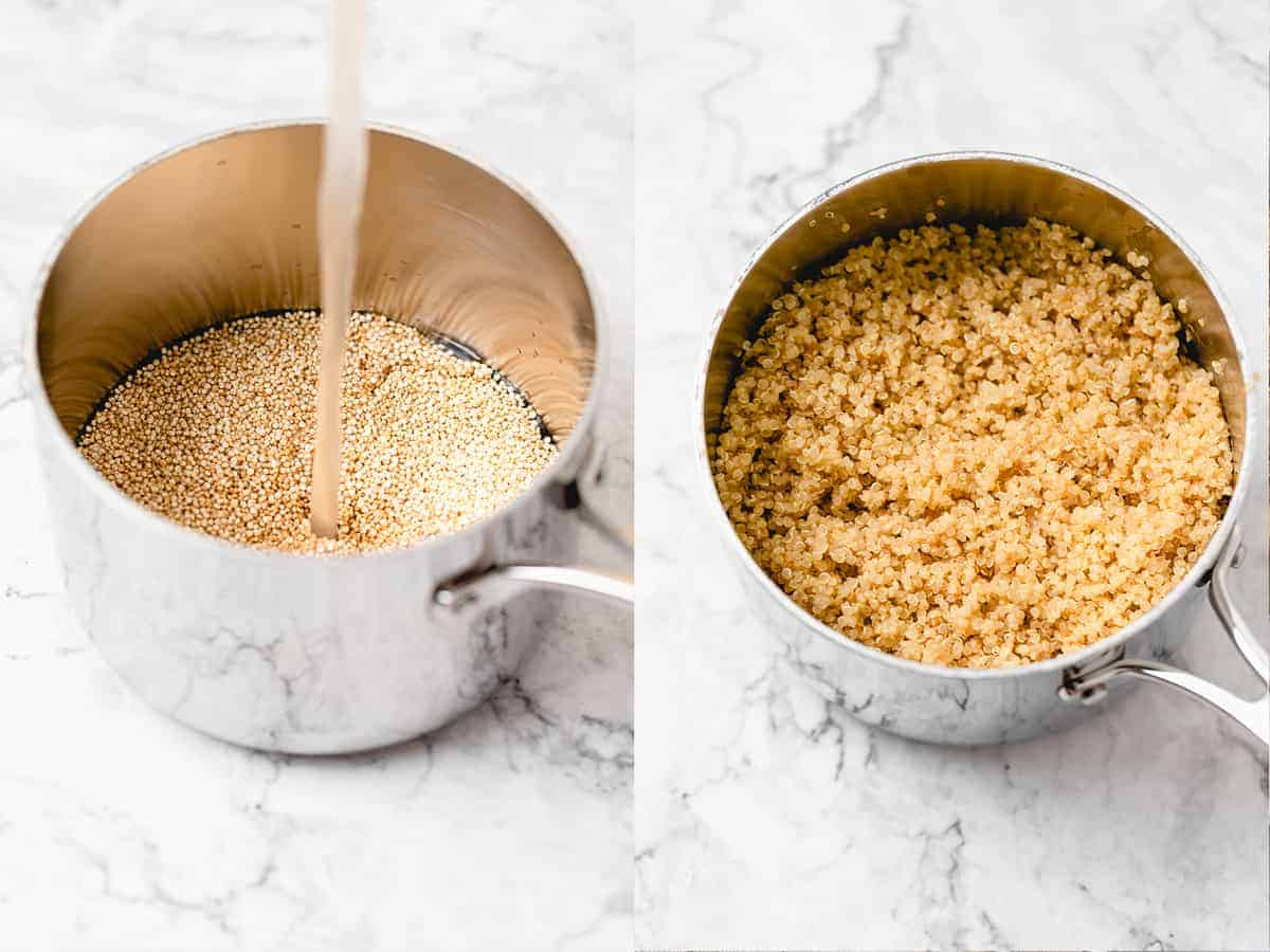 cooking of raw quinoa to cooked quinoa