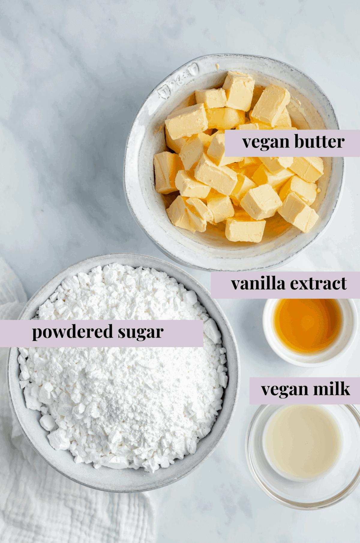 vegan buttercream frosting ingredients