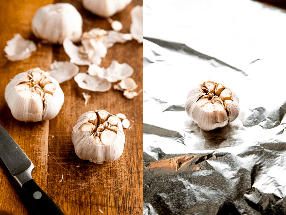 side by side of garlic bulbs after cutting off heads, then putting on foil