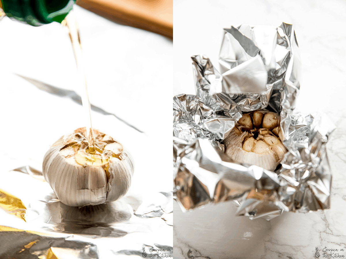 side by side of pouring olive oil on garlic bulb, then wrapping up in foil