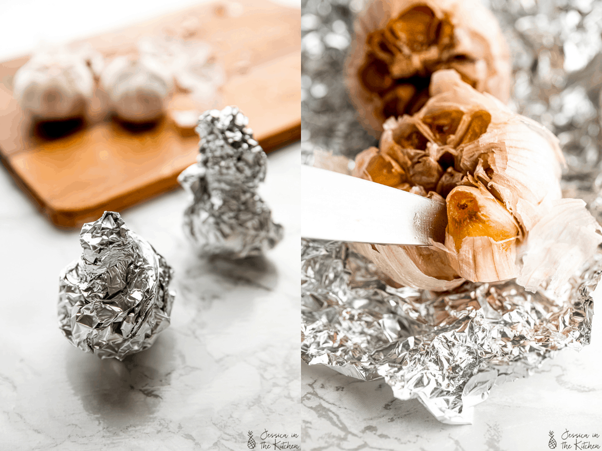 side by side of garlic bulb wrapped in foil, then pulling apart after roasting
