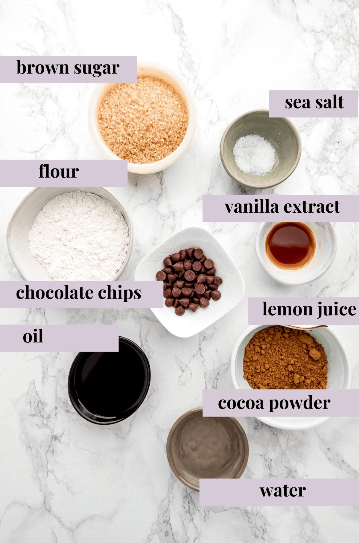 Ingredients for a mug brownie.