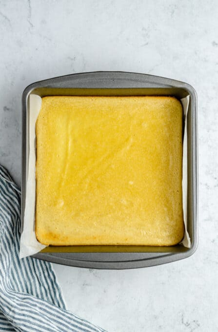 Baked vegan lemon bars in a pan.