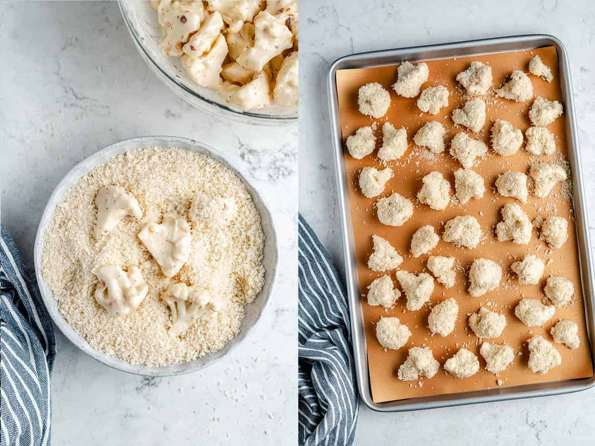 step by step making of the cauliflower wings