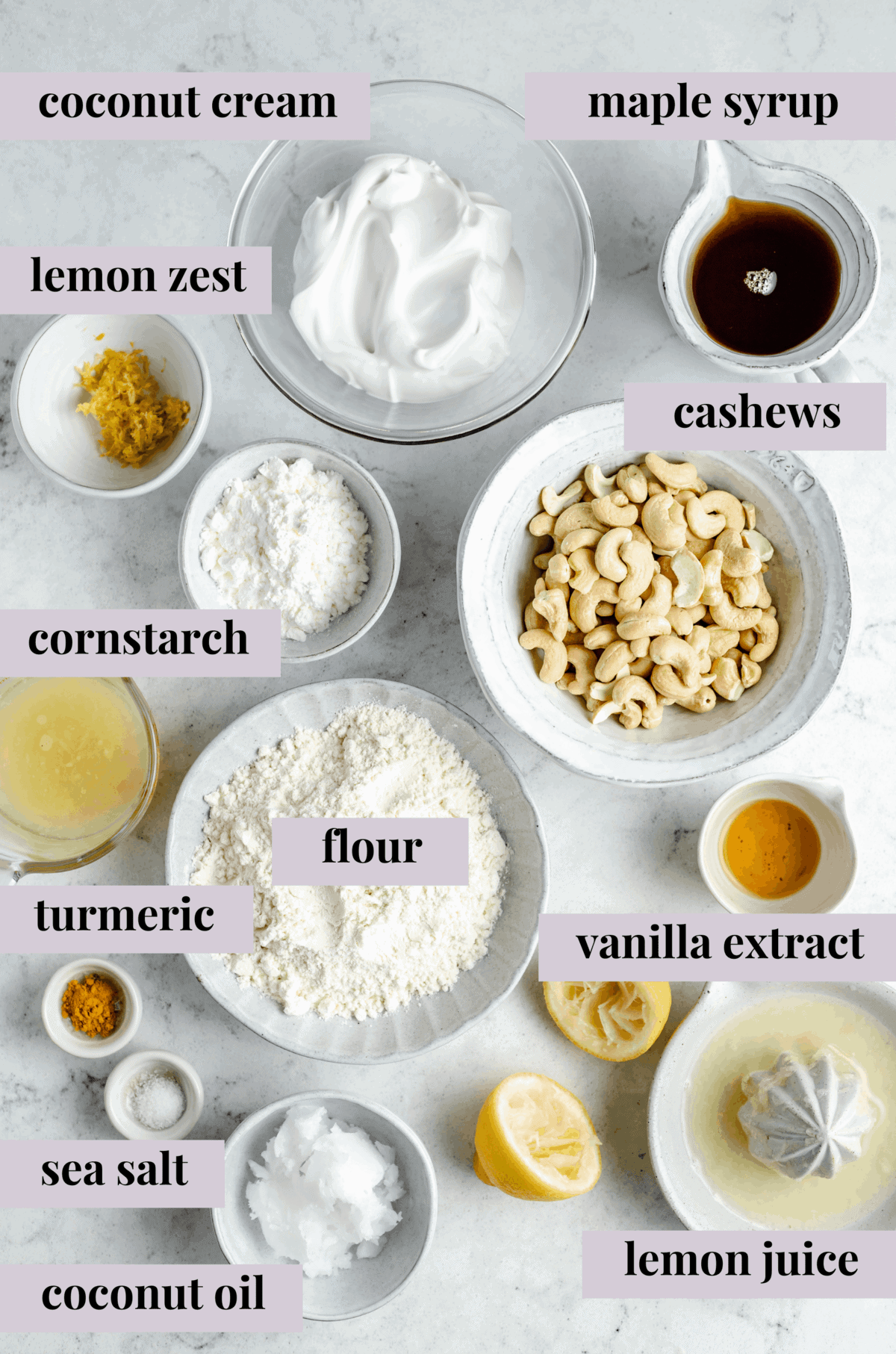 Ingredients for vegan lemon bars.