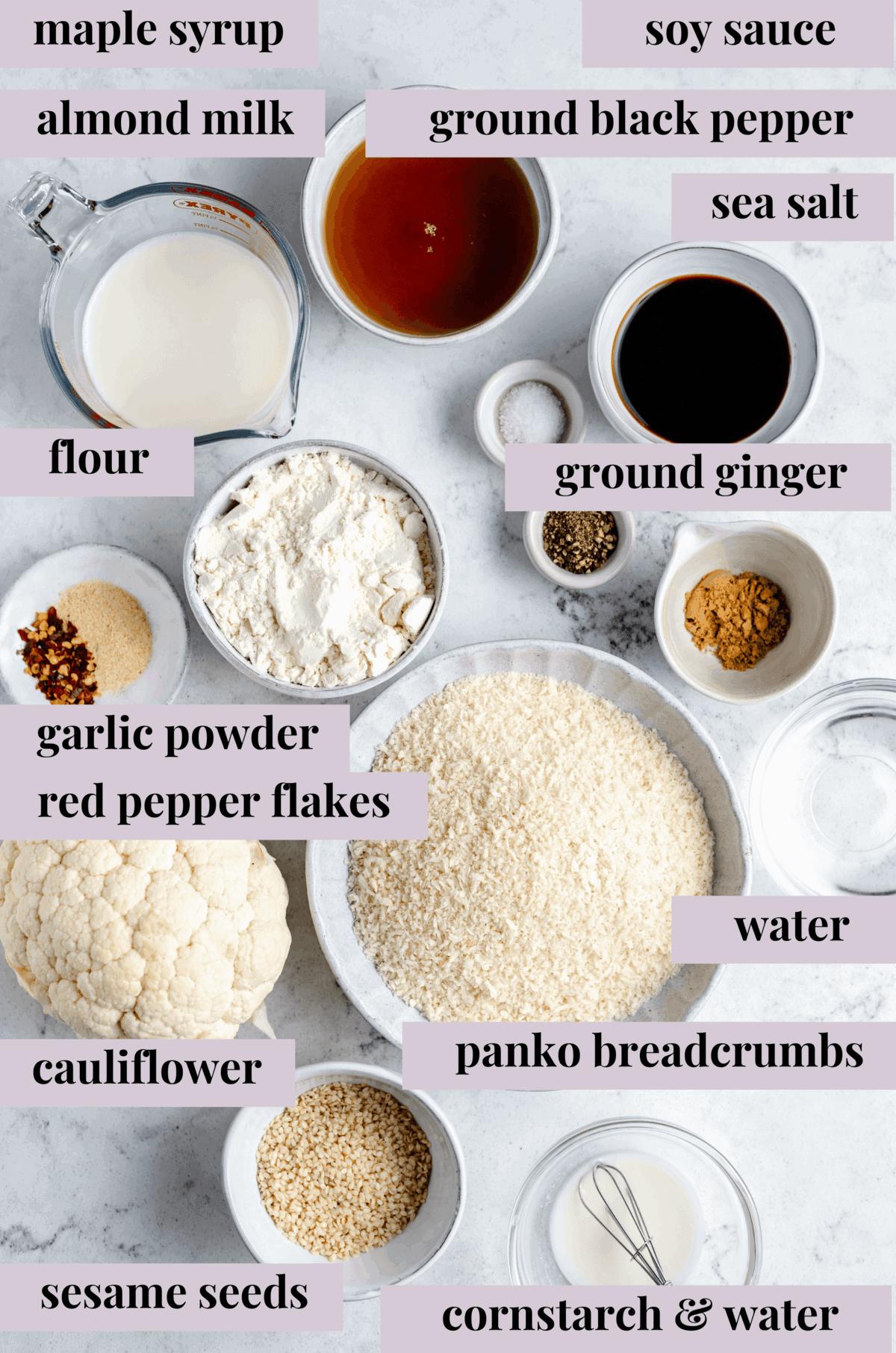 ingredients to make sticky sesame cauliflower wings