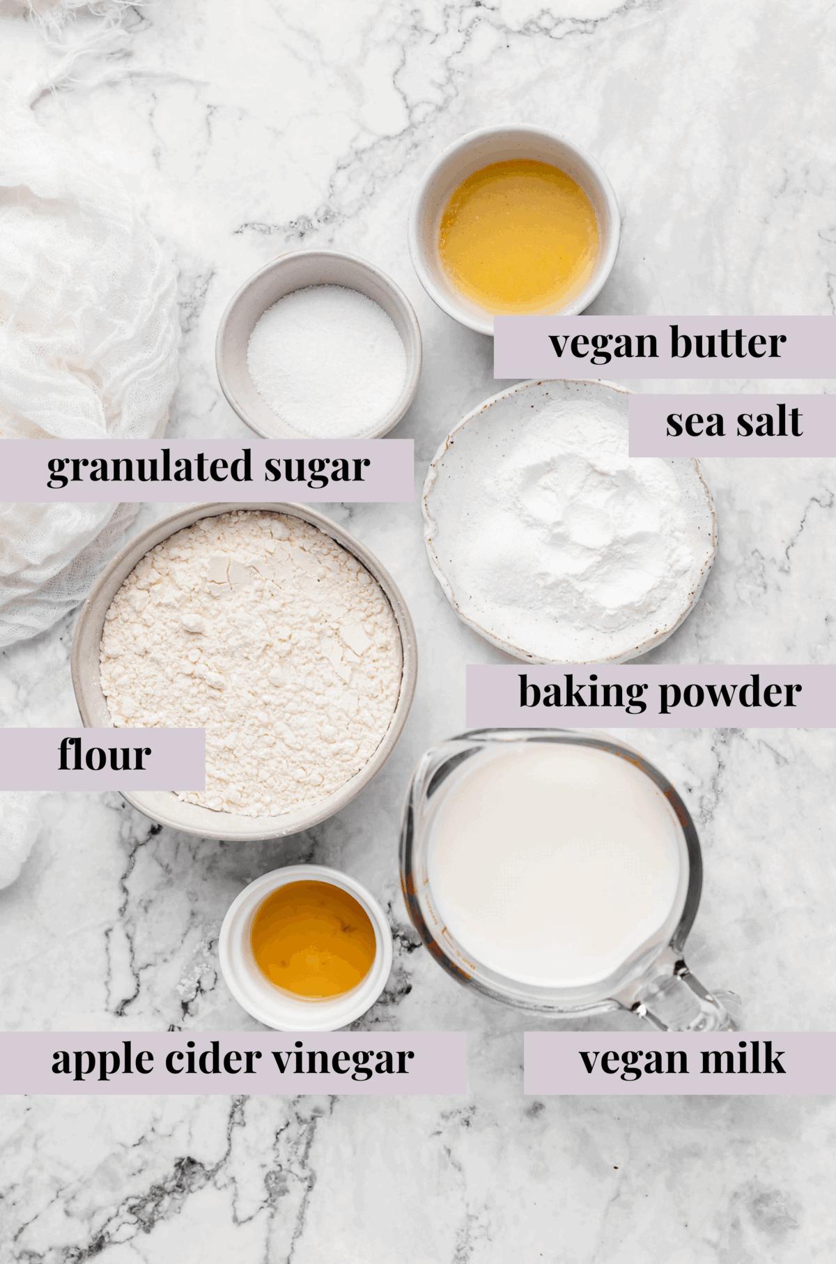 Ingredients for vegan pancakes.