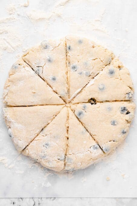 scone dough cut into 8 even pieces