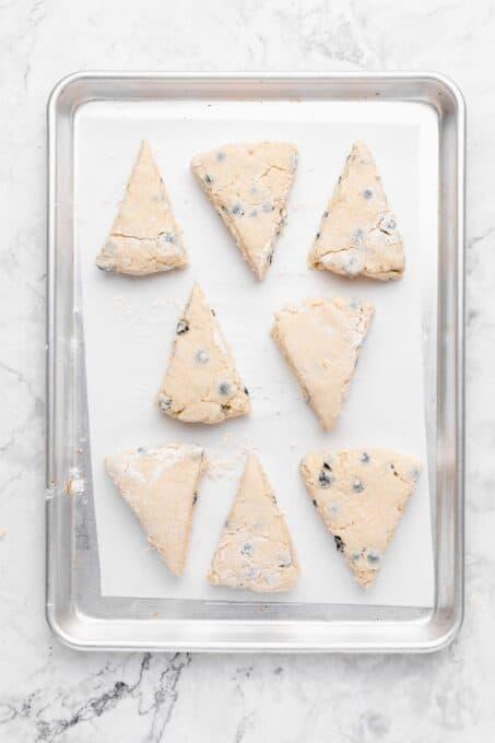 8 scone dough pieces on a parchment paper lined cookie sheet