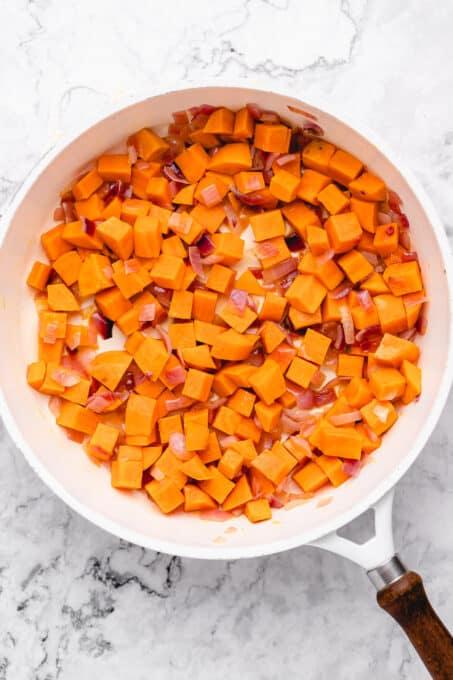 Sautéed sweet potato and onion.