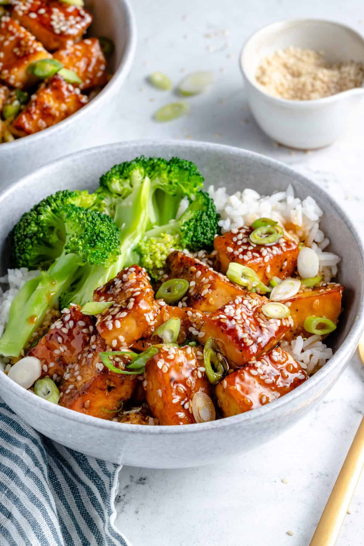 Teriyaki tofu with broccoli and white rice.