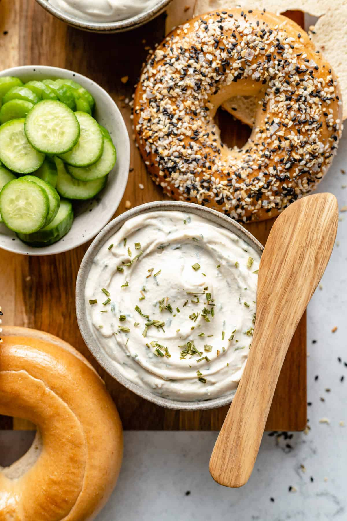 Cream cheese with chives and garlic.