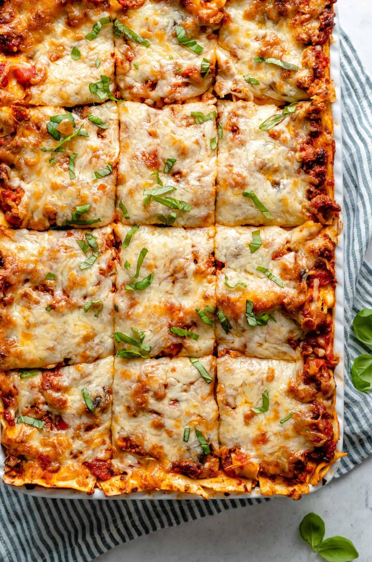 Vegan lasagna cut into squares.