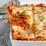 A serving of cheesy vegan lasagna.